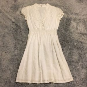 Fossil White Cotton Eyelet Midi Dress Size XS